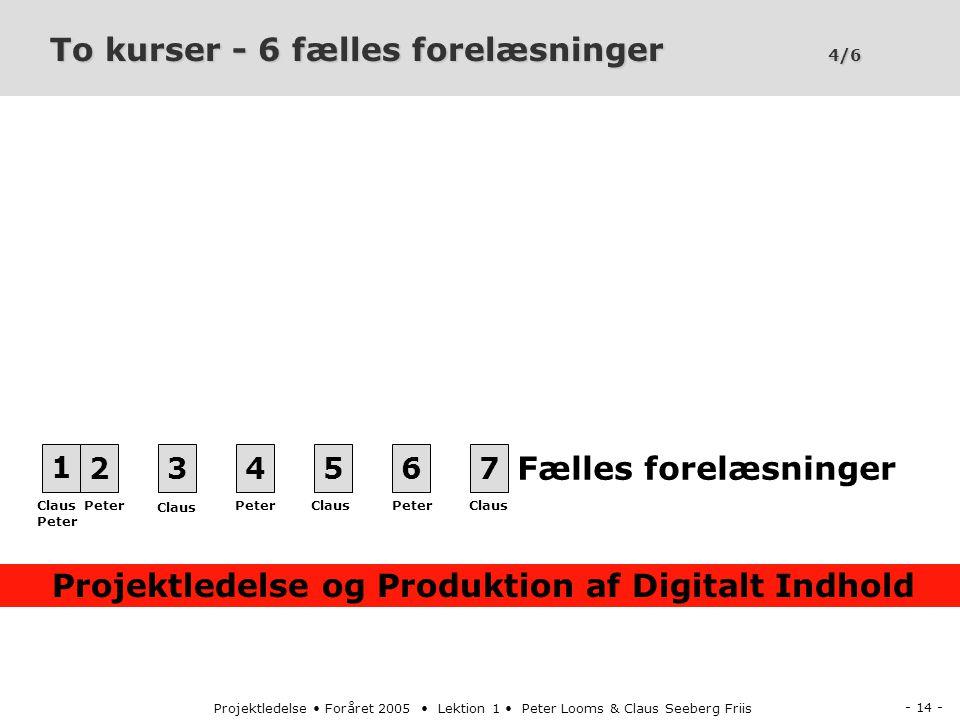 - 14 - Projektledelse Foråret 2005 Lektion 1 Peter Looms & Claus Seeberg Friis To kurser - 6 fælles forelæsninger 4/6 1234567 Projektledelse og Produktion af Digitalt Indhold Fælles forelæsninger Peter Claus Peter Claus