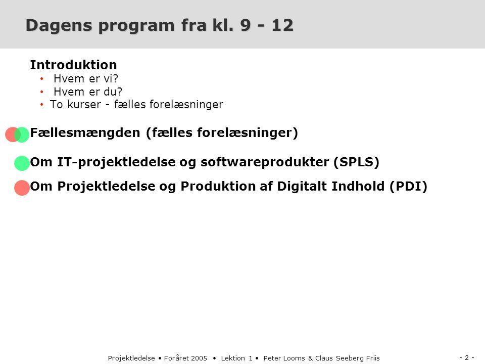 - 2 - Projektledelse Foråret 2005 Lektion 1 Peter Looms & Claus Seeberg Friis Dagens program fra kl.