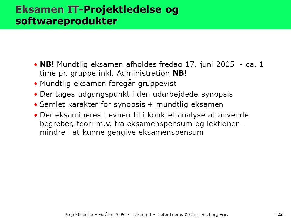 - 22 - Projektledelse Foråret 2005 Lektion 1 Peter Looms & Claus Seeberg Friis Eksamen IT-Projektledelse og softwareprodukter NB.