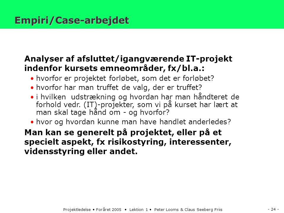 - 24 - Projektledelse Foråret 2005 Lektion 1 Peter Looms & Claus Seeberg Friis Analyser af afsluttet/igangværende IT-projekt indenfor kursets emneområder, fx/bl.a.: hvorfor er projektet forløbet, som det er forløbet.