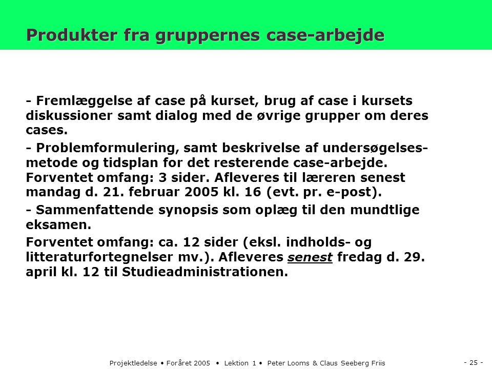 - 25 - Projektledelse Foråret 2005 Lektion 1 Peter Looms & Claus Seeberg Friis Produkter fra gruppernes case-arbejde - Fremlæggelse af case på kurset, brug af case i kursets diskussioner samt dialog med de øvrige grupper om deres cases.