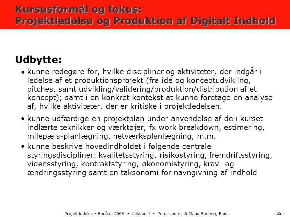 - 32 - Projektledelse Foråret 2005 Lektion 1 Peter Looms & Claus Seeberg Friis Kursusformål og fokus: Projektledelse og Produktion af Digitalt Indhold Udbytte: kunne redegøre for, hvilke discipliner og aktiviteter, der indgår i ledelse af et produktionsprojekt (fra idé og konceptudvikling, pitches, samt udvikling/validering/produktion/distribution af et koncept); samt i en konkret kontekst at kunne foretage en analyse af, hvilke aktiviteter, der er kritiske i projektledelsen.