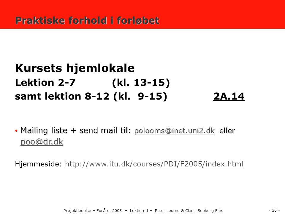- 36 - Projektledelse Foråret 2005 Lektion 1 Peter Looms & Claus Seeberg Friis Praktiske forhold i forløbet Kursets hjemlokale Lektion 2-7 (kl.