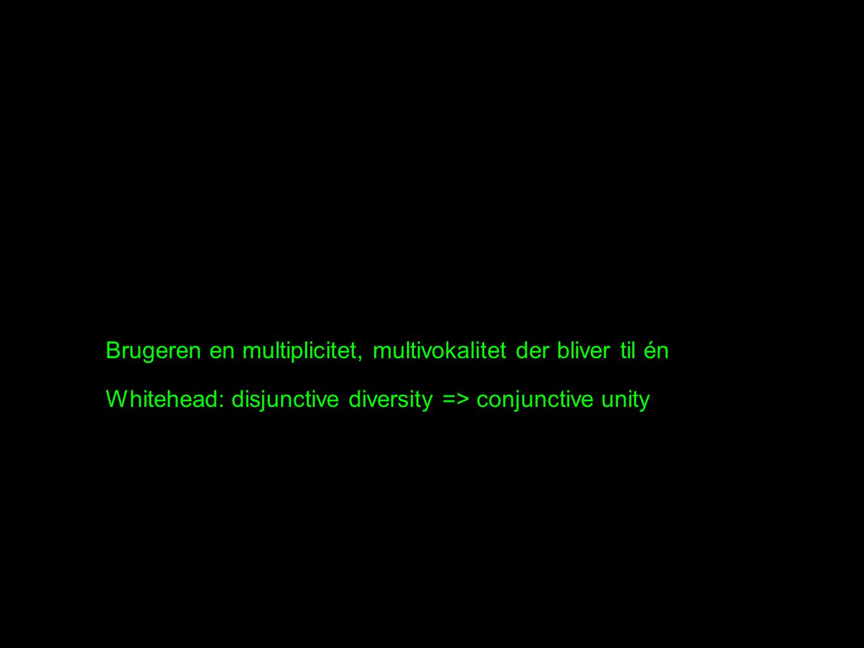 Brugeren en multiplicitet, multivokalitet der bliver til én Whitehead: disjunctive diversity => conjunctive unity