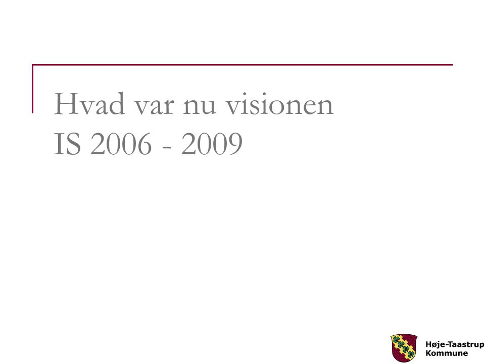 Hvad var nu visionen IS 2006 - 2009