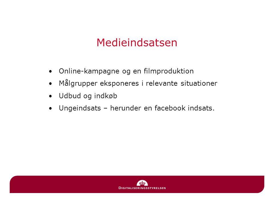 Medieindsatsen Online-kampagne og en filmproduktion Målgrupper eksponeres i relevante situationer Udbud og indkøb Ungeindsats – herunder en facebook indsats.