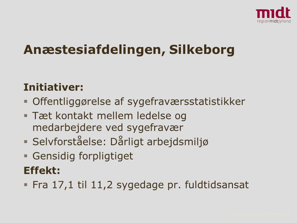 11 ▪ www.regionmidtjylland.dk Anæstesiafdelingen, Silkeborg Initiativer:  Offentliggørelse af sygefraværsstatistikker  Tæt kontakt mellem ledelse og medarbejdere ved sygefravær  Selvforståelse: Dårligt arbejdsmiljø  Gensidig forpligtiget Effekt:  Fra 17,1 til 11,2 sygedage pr.