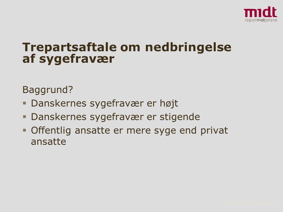 2 ▪ www.regionmidtjylland.dk Trepartsaftale om nedbringelse af sygefravær Baggrund.