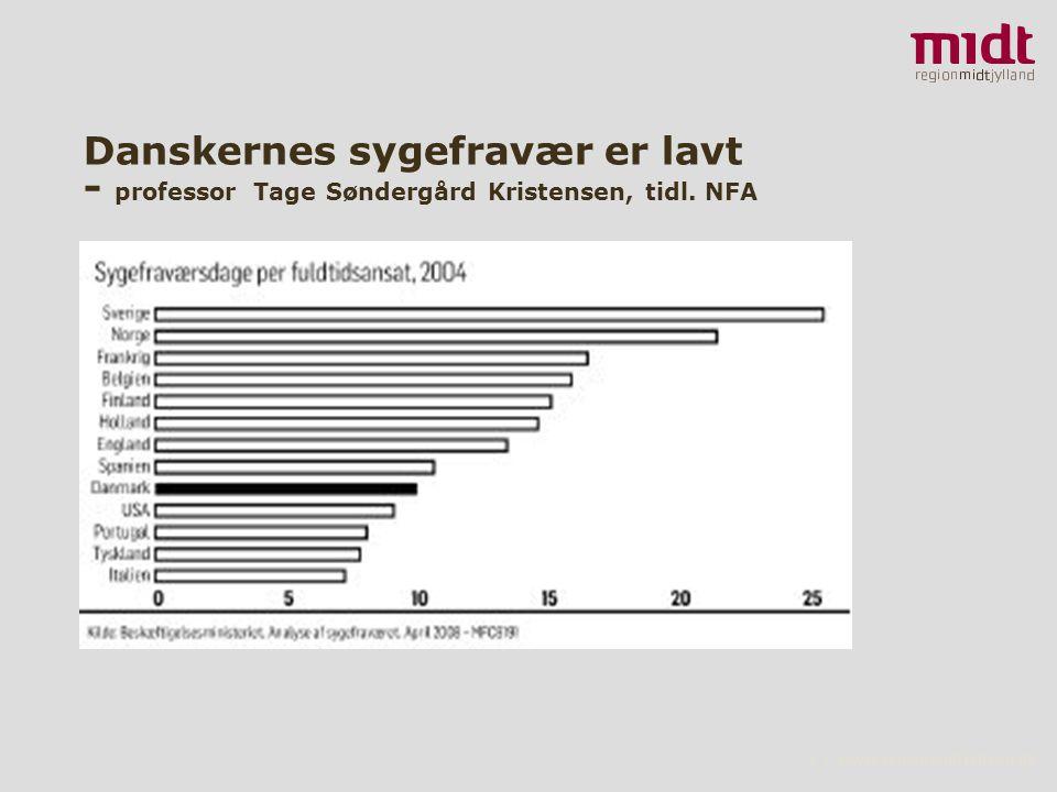 3 ▪ www.regionmidtjylland.dk Danskernes sygefravær er lavt - professor Tage Søndergård Kristensen, tidl.