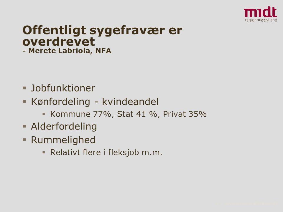 6 ▪ www.regionmidtjylland.dk Offentligt sygefravær er overdrevet - Merete Labriola, NFA  Jobfunktioner  Kønfordeling - kvindeandel  Kommune 77%, Stat 41 %, Privat 35%  Alderfordeling  Rummelighed  Relativt flere i fleksjob m.m.