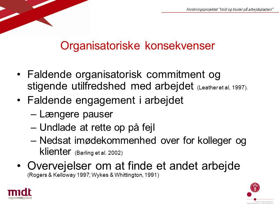 Forskningsprojektet Vold og trusler på arbejdspladsen Organisatoriske konsekvenser Faldende organisatorisk commitment og stigende utilfredshed med arbejdet (Leather et al, 1997).