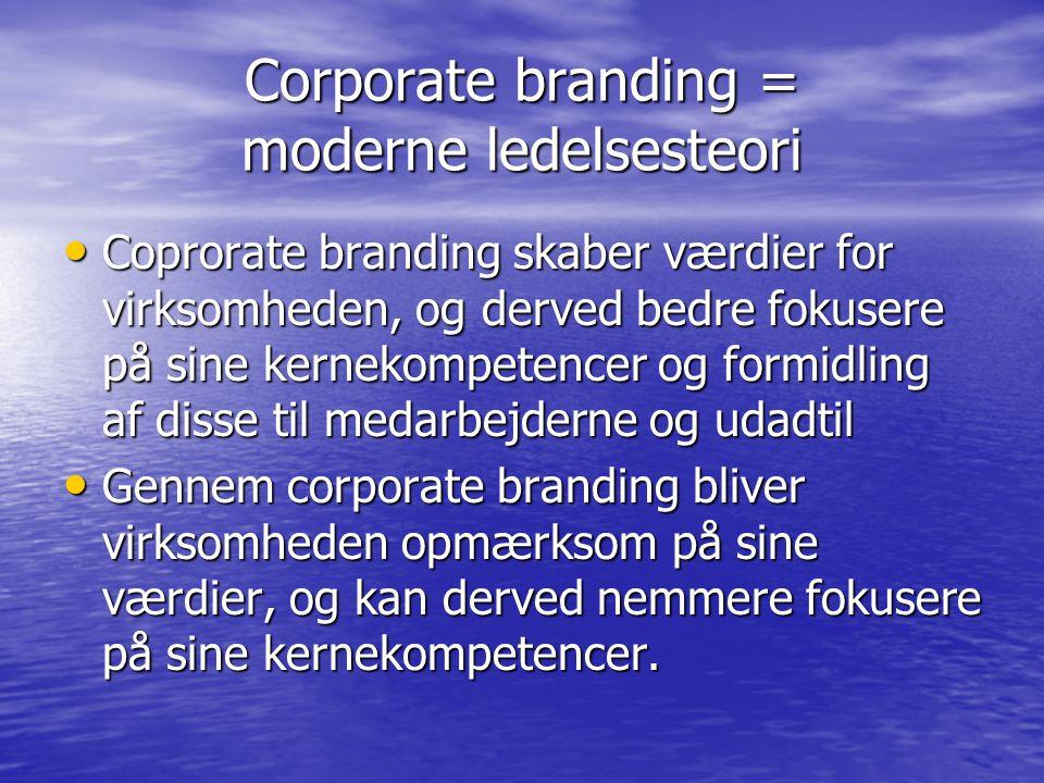 Corporate branding = moderne ledelsesteori Coprorate branding skaber værdier for virksomheden, og derved bedre fokusere på sine kernekompetencer og formidling af disse til medarbejderne og udadtil Coprorate branding skaber værdier for virksomheden, og derved bedre fokusere på sine kernekompetencer og formidling af disse til medarbejderne og udadtil Gennem corporate branding bliver virksomheden opmærksom på sine værdier, og kan derved nemmere fokusere på sine kernekompetencer.