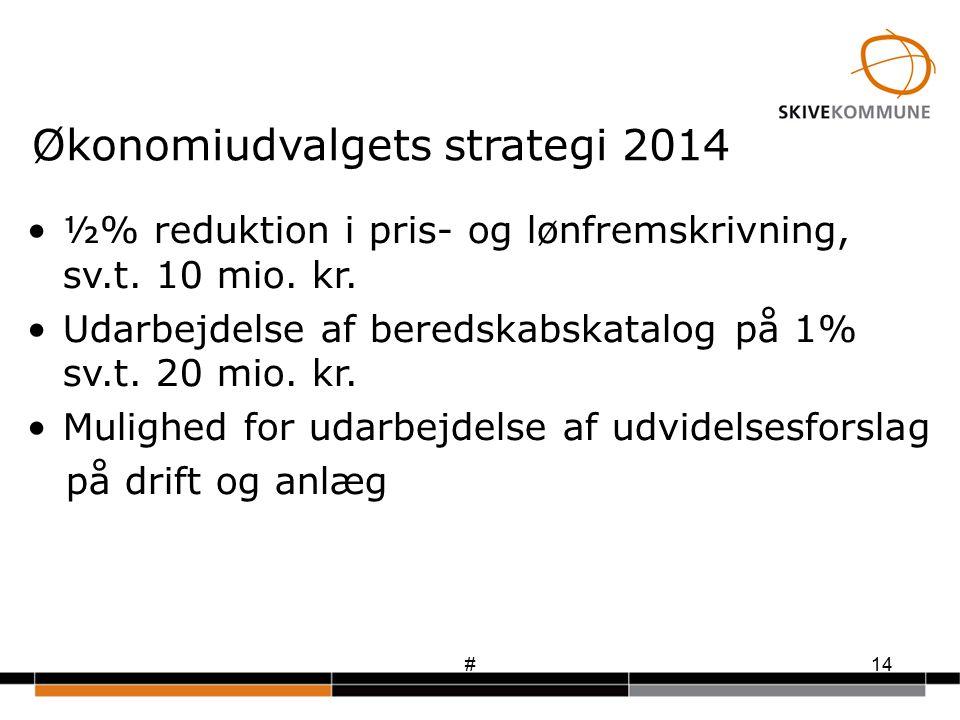 #14 Økonomiudvalgets strategi 2014 ½% reduktion i pris- og lønfremskrivning, sv.t.