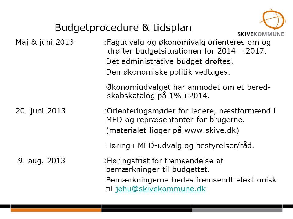 Budgetprocedure & tidsplan Maj & juni 2013:Fagudvalg og økonomivalg orienteres om og drøfter budgetsituationen for 2014 – 2017.