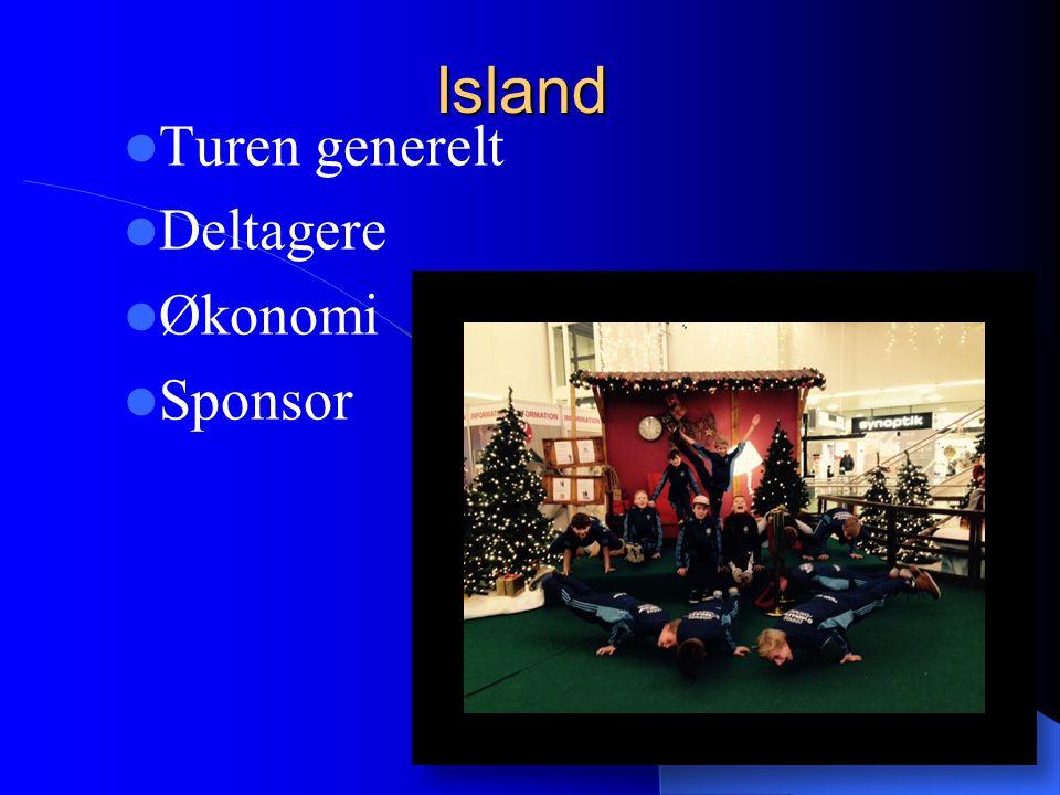 Island Turen generelt Deltagere Økonomi Sponsor