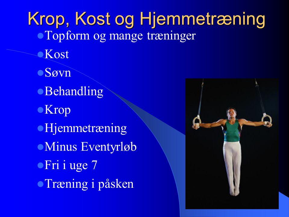 Krop, Kost og Hjemmetræning Topform og mange træninger Kost Søvn Behandling Krop Hjemmetræning Minus Eventyrløb Fri i uge 7 Træning i påsken