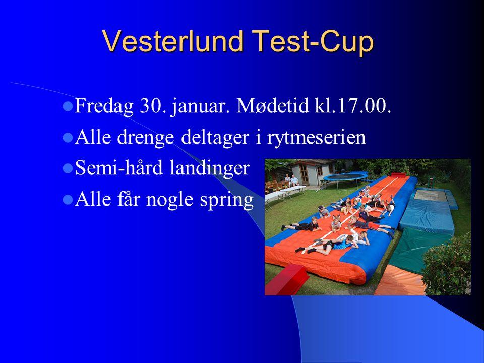 Vesterlund Test-Cup Fredag 30. januar. Mødetid kl.17.00.