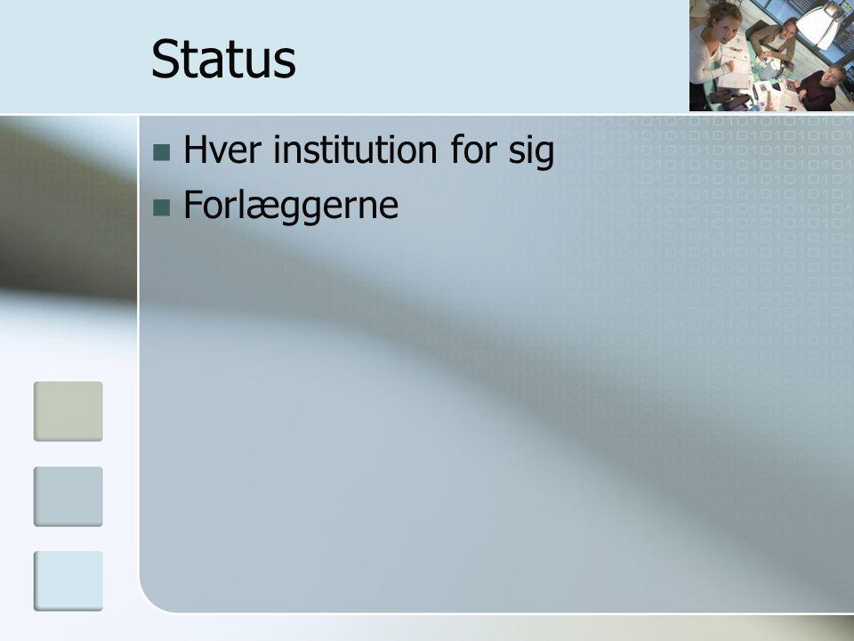 Status Hver institution for sig Forlæggerne