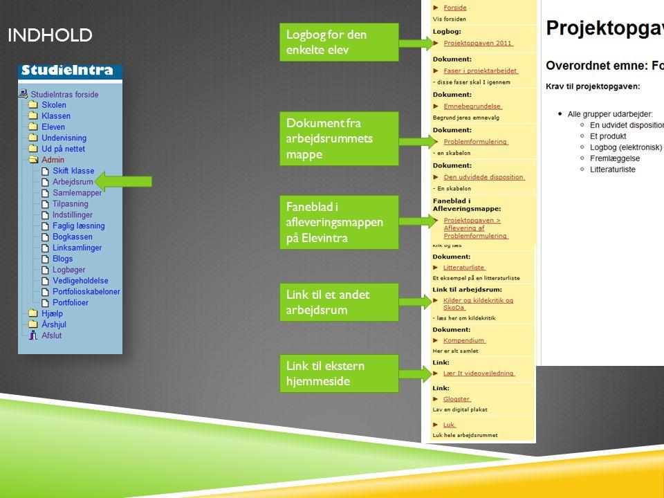Logbog for den enkelte elev Dokument fra arbejdsrummets mappe Faneblad i afleveringsmappen på Elevintra INDHOLD Link til et andet arbejdsrum Link til ekstern hjemmeside