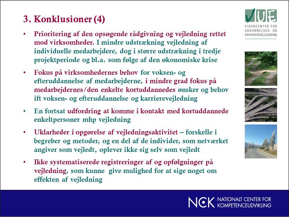 3. Konklusioner (4) Prioritering af den opsøgende rådgivning og vejledning rettet mod virksomheder.
