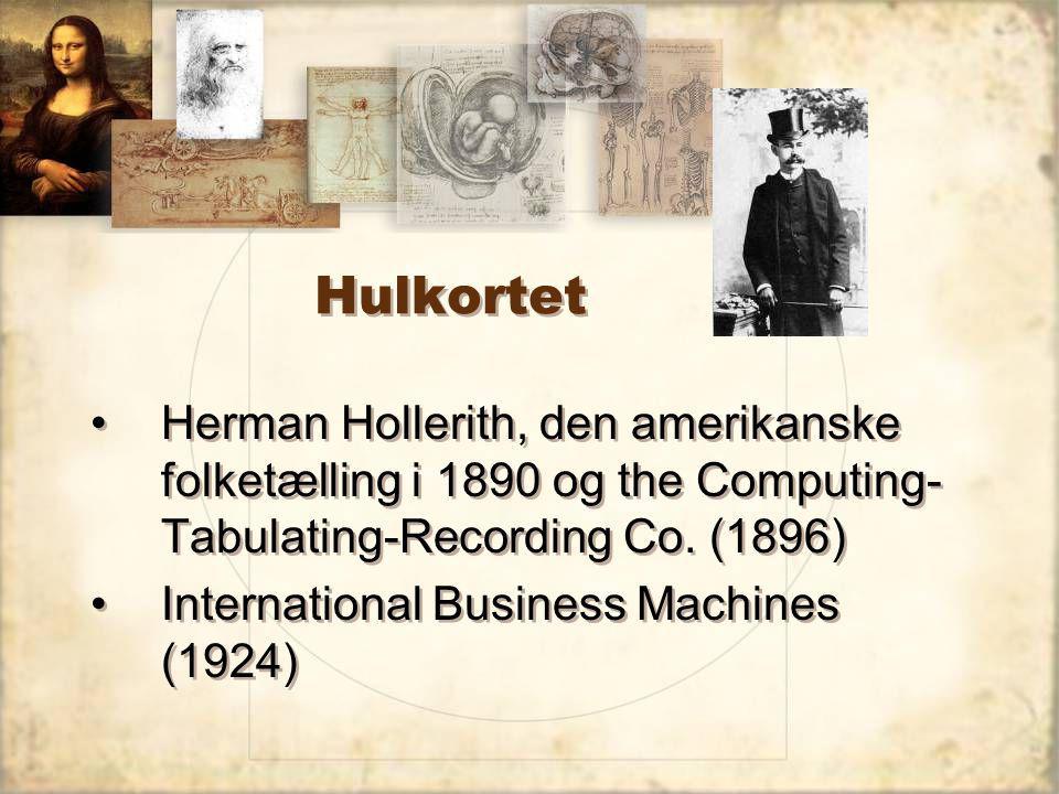 Hulkortet Herman Hollerith, den amerikanske folketælling i 1890 og the Computing- Tabulating-Recording Co.
