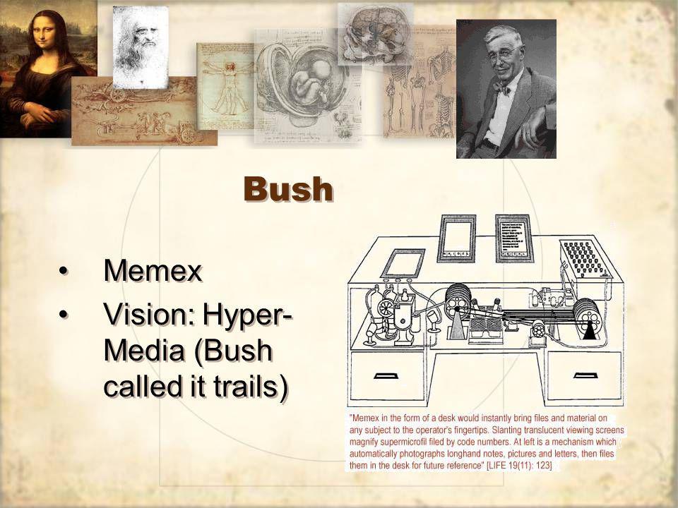 Bush Memex Vision: Hyper- Media (Bush called it trails) Memex Vision: Hyper- Media (Bush called it trails)