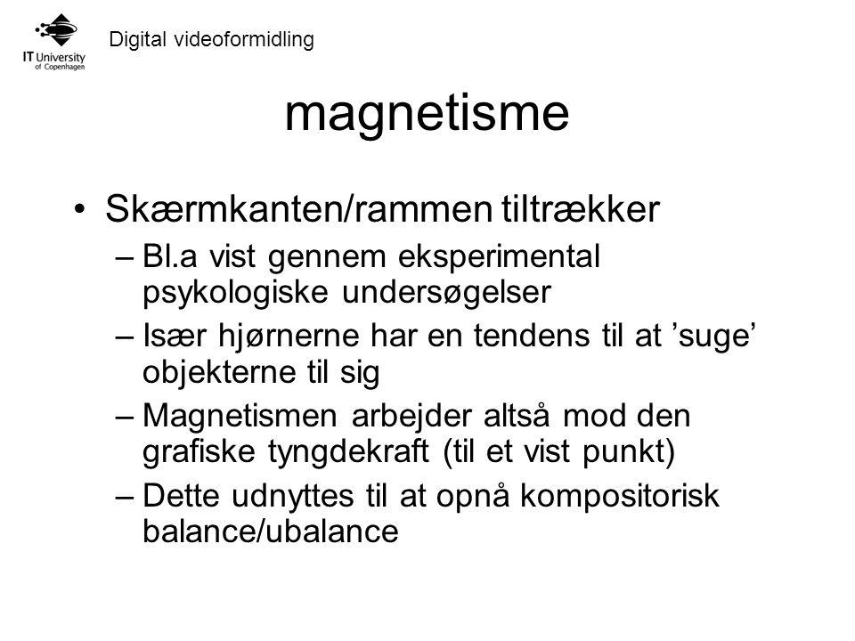 Digital videoformidling magnetisme Skærmkanten/rammen tiltrækker –Bl.a vist gennem eksperimental psykologiske undersøgelser –Især hjørnerne har en tendens til at 'suge' objekterne til sig –Magnetismen arbejder altså mod den grafiske tyngdekraft (til et vist punkt) –Dette udnyttes til at opnå kompositorisk balance/ubalance