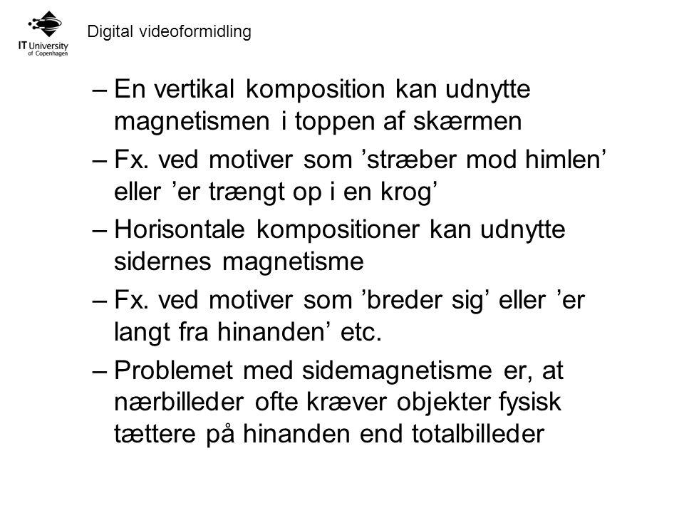 Digital videoformidling –En vertikal komposition kan udnytte magnetismen i toppen af skærmen –Fx.
