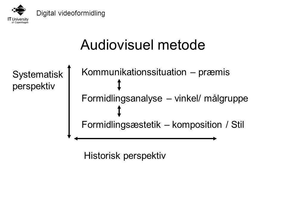 Digital videoformidling Audiovisuel metode Kommunikationssituation – præmis Formidlingsanalyse – vinkel/ målgruppe Formidlingsæstetik – komposition / Stil Systematisk perspektiv Historisk perspektiv