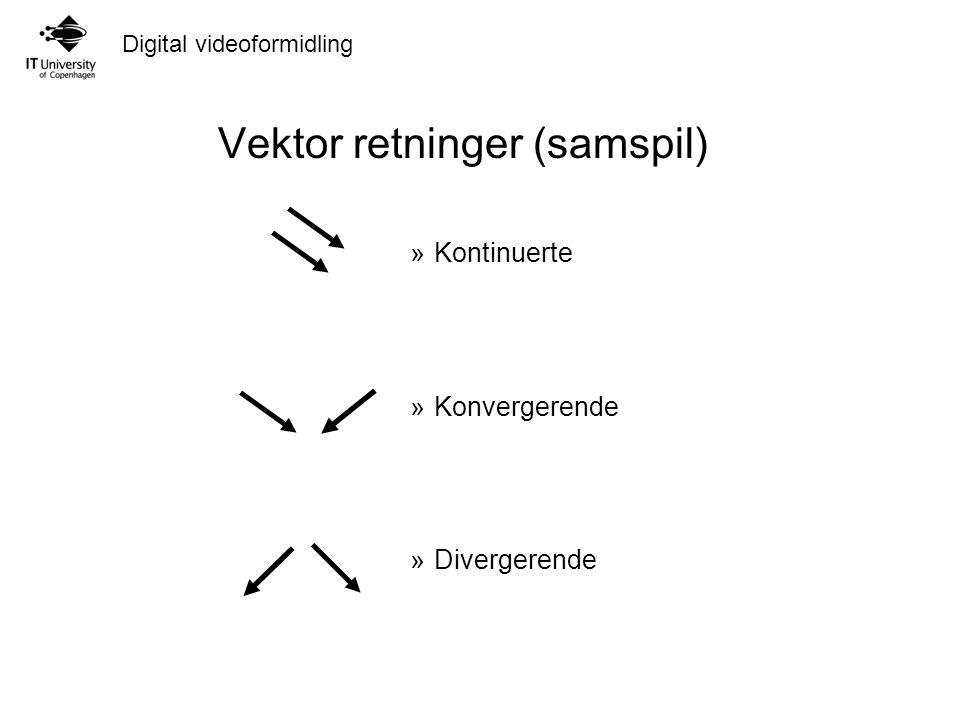 Digital videoformidling Vektor retninger (samspil) »Kontinuerte »Konvergerende »Divergerende