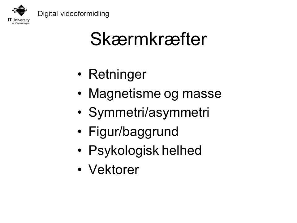 Digital videoformidling Skærmkræfter Retninger Magnetisme og masse Symmetri/asymmetri Figur/baggrund Psykologisk helhed Vektorer