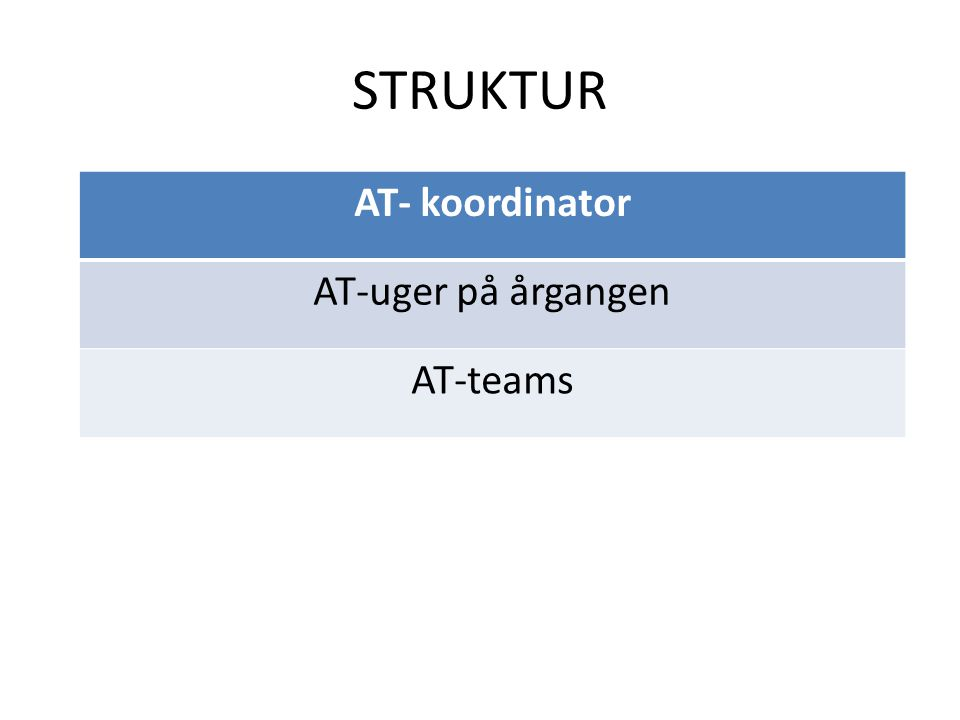STRUKTUR AT- koordinator AT-uger på årgangen AT-teams