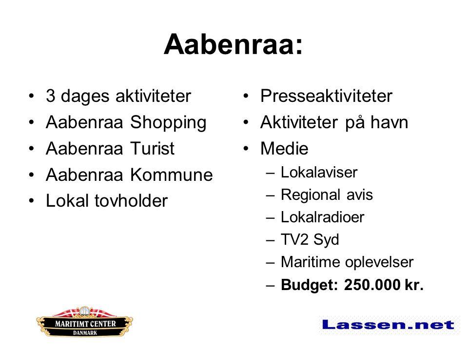 Aabenraa: 3 dages aktiviteter Aabenraa Shopping Aabenraa Turist Aabenraa Kommune Lokal tovholder Presseaktiviteter Aktiviteter på havn Medie –Lokalaviser –Regional avis –Lokalradioer –TV2 Syd –Maritime oplevelser –Budget: 250.000 kr.