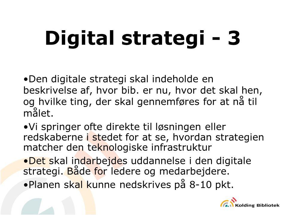 Digital strategi - 3 Den digitale strategi skal indeholde en beskrivelse af, hvor bib.