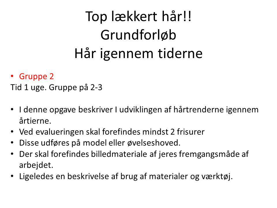 Top lækkert hår!. Grundforløb Hår igennem tiderne Gruppe 2 Tid 1 uge.