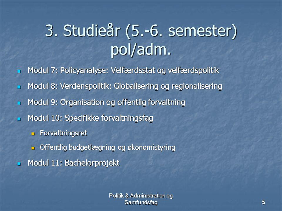 Politik & Administration og Samfundsfag4 2. studieår (3.-4.