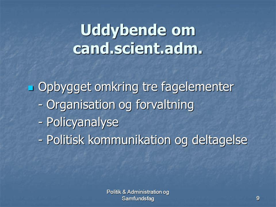 Politik & Administration og Samfundsfag8 Efter din bachelorgrad.