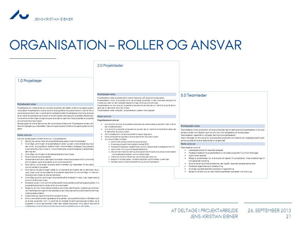 JENS-KRISTIAN EIBNER AT DELTAGE I PROJEKTARBEJDE JENS-KRISTIAN EIBNER 26. SEPTEMBER 2013 ORGANISATION – ROLLER OG ANSVAR 21