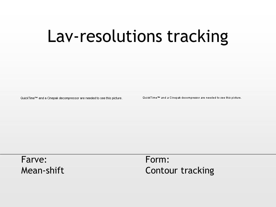 Lav-resolutions tracking Farve: Mean-shift Form: Contour tracking