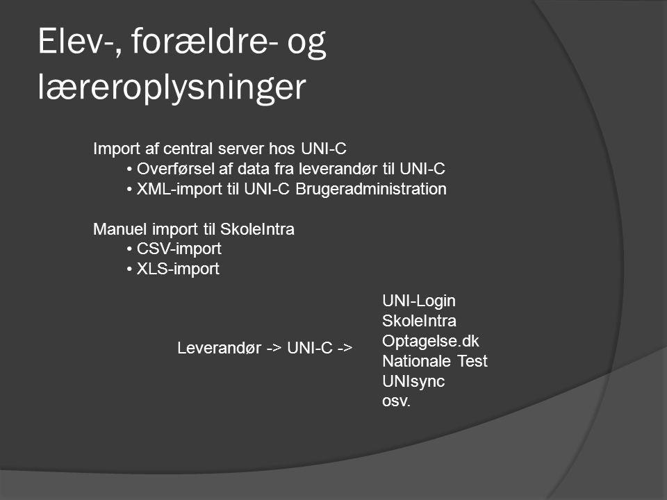 Elev-, forældre- og læreroplysninger Import af central server hos UNI-C Overførsel af data fra leverandør til UNI-C XML-import til UNI-C Brugeradministration Manuel import til SkoleIntra CSV-import XLS-import Leverandør -> UNI-C -> UNI-Login SkoleIntra Optagelse.dk Nationale Test UNIsync osv.