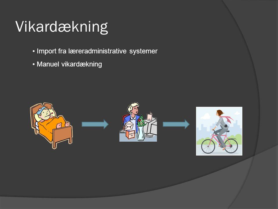 Vikardækning Import fra læreradministrative systemer Manuel vikardækning