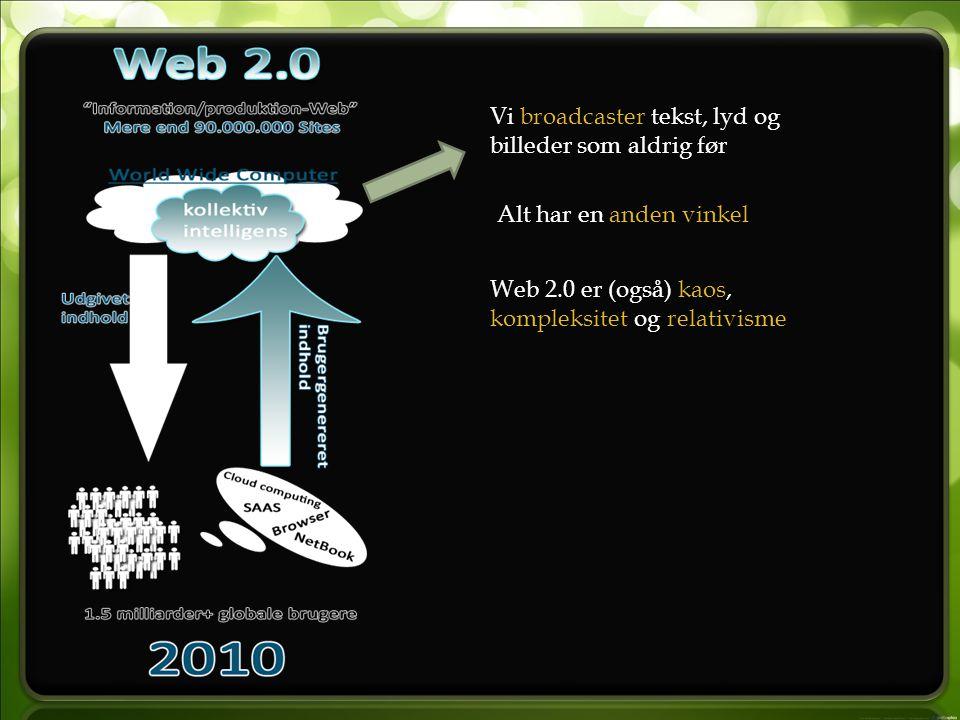 Vi broadcaster tekst, lyd og billeder som aldrig før Alt har en anden vinkel Web 2.0 er (også) kaos, kompleksitet og relativisme