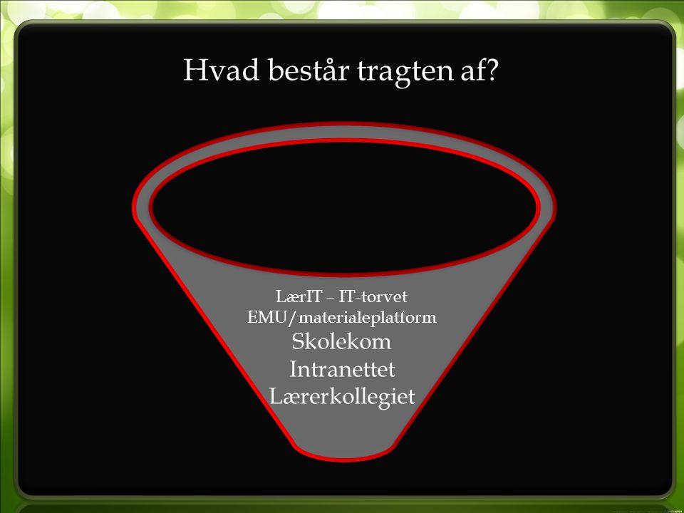 Hvad består tragten af LærIT – IT-torvet EMU/materialeplatform Skolekom Intranettet Lærerkollegiet
