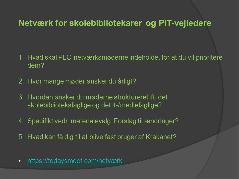 1.Hvad skal PLC-netværksmøderne indeholde, for at du vil prioritere dem.