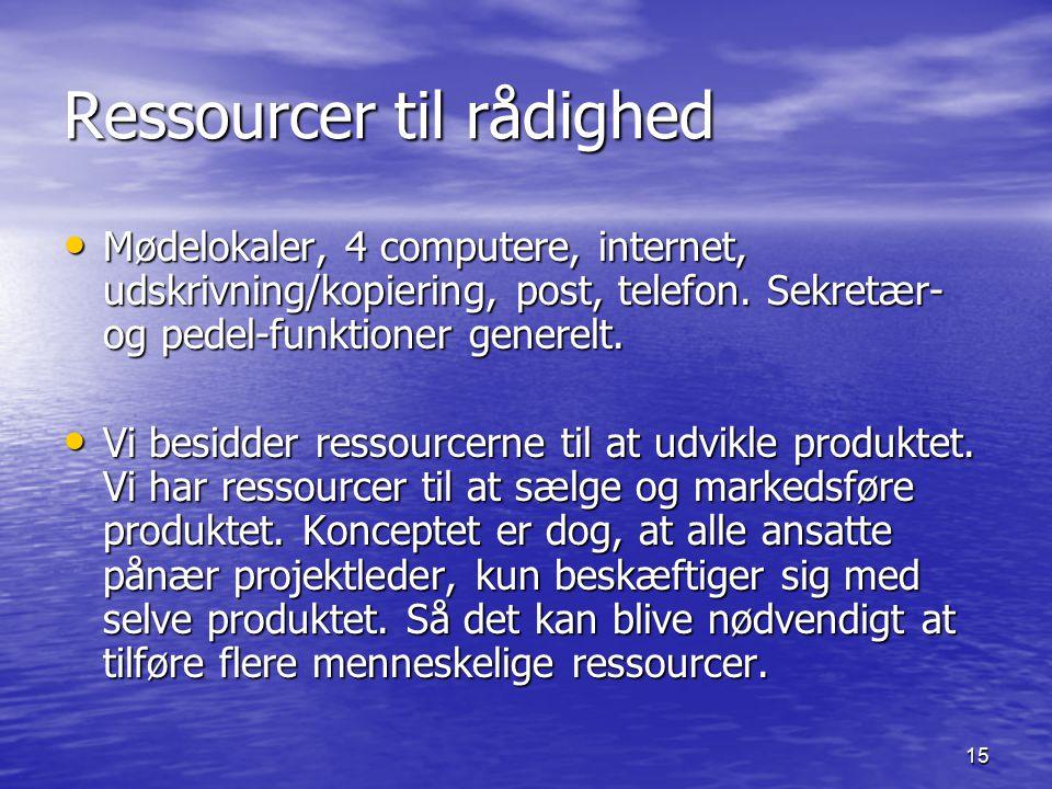 15 Ressourcer til rådighed Mødelokaler, 4 computere, internet, udskrivning/kopiering, post, telefon.