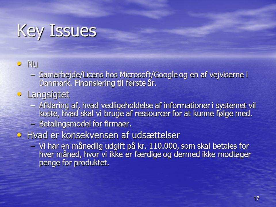 17 Key Issues Nu Nu –Samarbejde/Licens hos Microsoft/Google og en af vejviserne i Danmark.