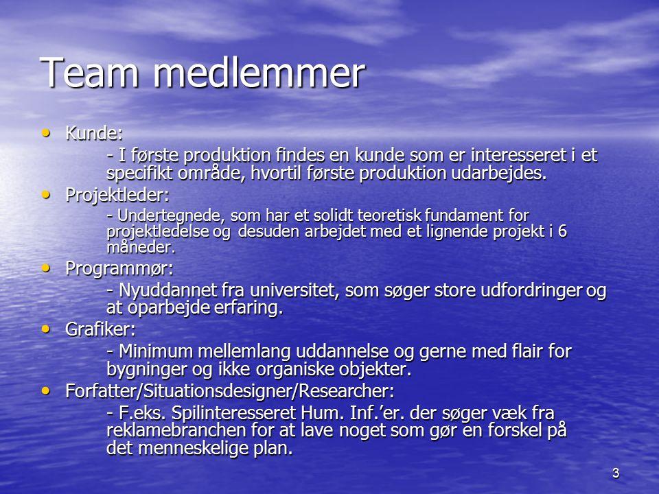 3 Team medlemmer Kunde: Kunde: - I første produktion findes en kunde som er interesseret i et specifikt område, hvortil første produktion udarbejdes.