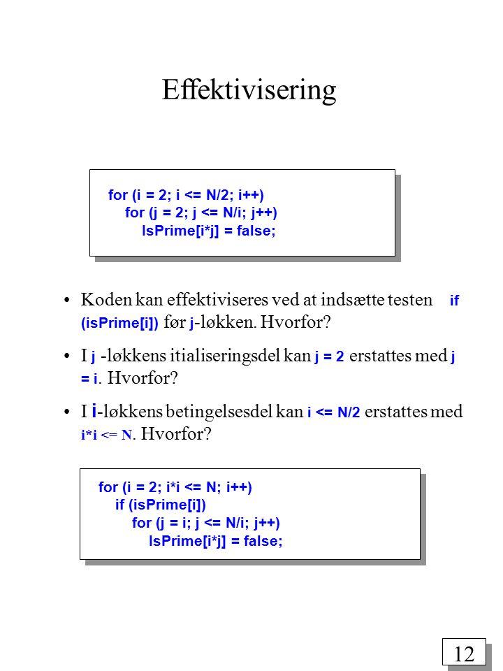 11 public class Eratosthenes { final static int N = 100000000; public static void main(String args[]) { boolean isPrime[] = new boolean[N+1]; int i, j; for (i = 2; i <= N; i++) isPrime[i] = true; for (i = 2; i <= N/2; i++) for (j = 2; j <= N/i; j++) IsPrime[i*j] = false; for (i = 2; i <= N; i++) if (IsPrime[i]) IO.print(i + ); IO.println(); } Vi skal gennemløbe alle tal i*j, hvor i ≥ 2, j ≥ 2 og i*j ≤ N.