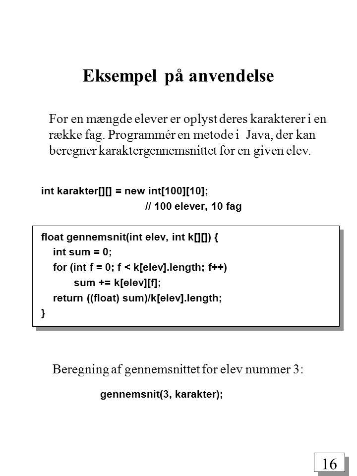 15 Realisering i Java: Oprettelse: int a[][] = new int[5][4]; opretter et array med 5*4 = 20 heltallige elementer: a[0][0] a[0][1] a[0][2] a[0][3] a[1][0] a[1][1] a[1][2] a[1][3] a[2][0] a[2][1] a[2][2] a[2][3] a[3][0] a[3][1] a[3][2] a[3][3] a[4][0] a[4][1] a[4][2] a[4][3] 2-dimensionale arrays Tilgang til element: a[3][2] Aflæsning af antal rækker: a.length (= 5) Aflæsning af antal søjler: a[0].length (= 4)
