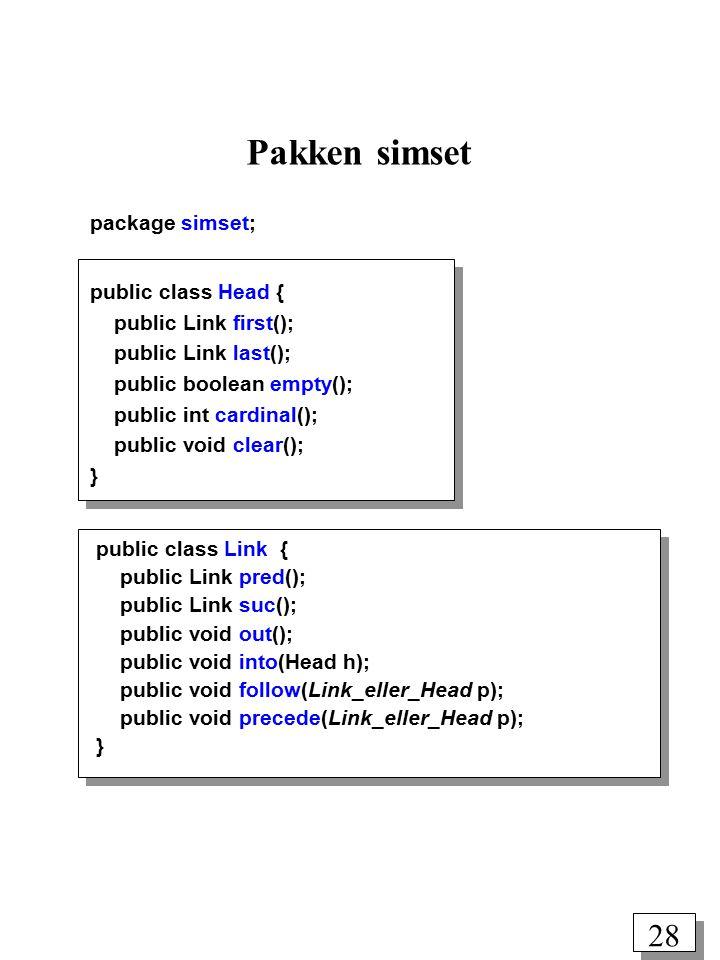 27 Klasserne Link og Head fra en klients synspunkt Head: Listehovedet Link: Et listeelement first() last() suc() null suc() pred() Head Link